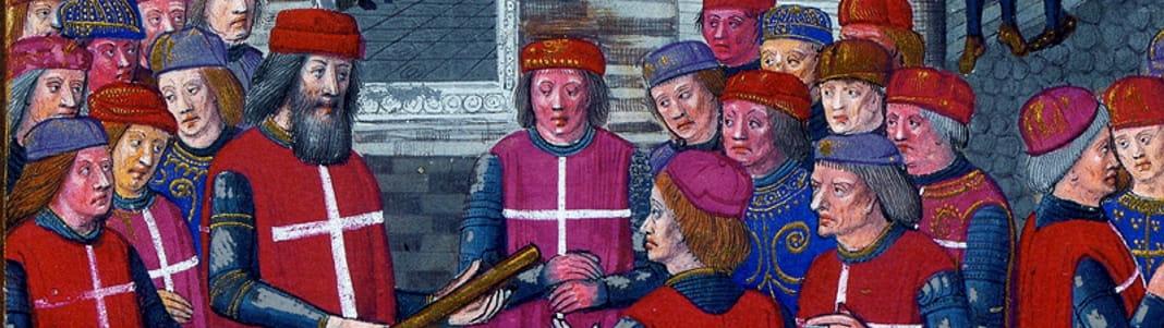 1307 : Sous la conduite du Grand Maître Fra' Foulques de Villaret, les chevaliers de l'Ordre de Saint-Jean débarquent à Rhodes